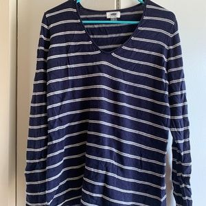 Old Navy navy and white striped v neck sweater